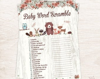 Woodland Baby Word Scramble Game, Baby Shower Games, Instant Download