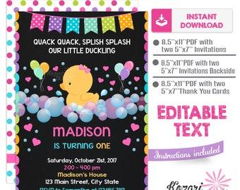 Editable Rubber Duck Birthday Invitation , Rubber Duck Birthday Invitation , Rubber Duck Invitation, Instant Download, Editable Pdf