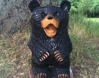 """Standing Black Bear - 26"""" Tall, 15"""" Wide - Wood Chainsaw Carving"""