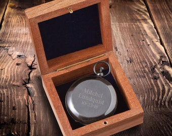 Personalized Compass, Engraved Compass, Momogrammed Compass, Gunmetal Keepsake Compass with Wooden Box