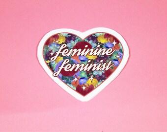 Feminine Feminist Vinyl Sticker