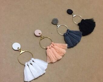 Clay Stud Hoop - Cotton Eassel Earrings / various colours