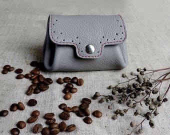 Small women's wallet leather Mini coin purse change purse grey compact wallet genuine leather card holder Valentine's gift