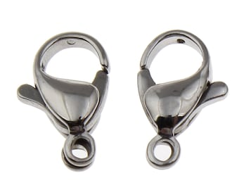 10 x Stainless Steel Lobster claw clasp 12mm