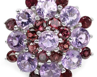 Natural AAA Purple Amethyst & Rhodolite Garnet 925 Sterling Silver Ring 14K White Gold Coating