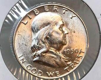 1950 D Franklin Half Dollar - Choice BU / MS / Unc