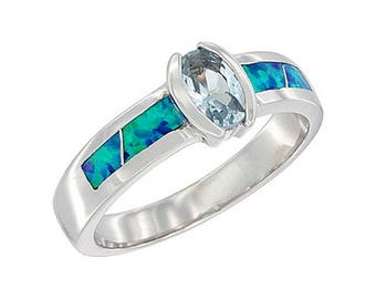 Sterling Silver Blue Opal Solitare Ring Blue Topaz