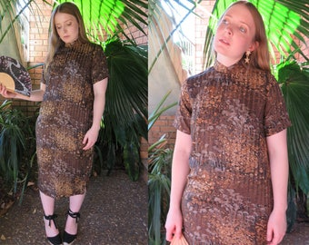 CHEONGSAM Brown Floral Dress / Handmade Chinese Style Short Sleeve High Neck Shift Midi / Size 10 Medium