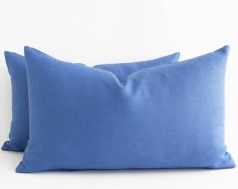 blue linen pillow cover blue pillow cover solid pillow cover