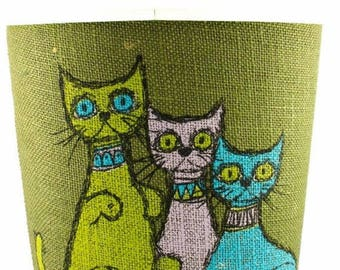 FLASH SALE Cat Motif Burlap Wastebasket/Trash Can Hallman Created Product