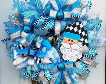 Whimsical Santa Wreath, Christmas Wreath, Blue Christmas Wreath, Blue Door Decor, Best Door, Xmas Wall Decor, Christmas Door Decoration