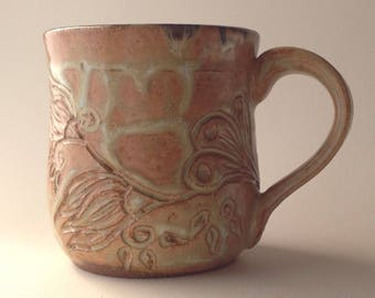 8 oz. Antique White Hand Carved Ceramic Mug