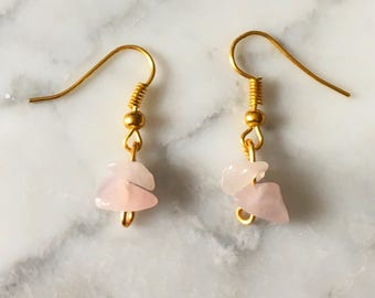 Rose Quartz Earrings - Gold Plated - Droplet Earrings - Boho Earrings - Gemstone Earrings