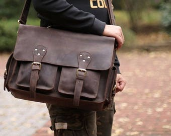Brown Leather Messenger bag/ Leather Shoulder Bag/ Leather Briefcase / Leather School Bag/ Personalized Bag