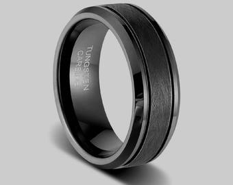 black wedding ring etsy. Black Bedroom Furniture Sets. Home Design Ideas