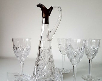 5 Heavy hand cut crystals Val Saint Lambert glasses and carafe