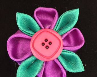 Free shipping! Purple and Teal Mini Kanzashi with Pink Button