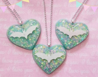 Fairy Kei Creepy Cute Bat Glitter Rainbow Confetti Bubble Heart Necklace