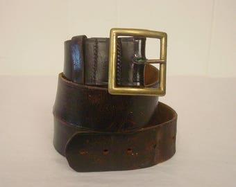 """Vintage belt, leather belt, motorcycle belt, 1950s belt, 37.5"""" to 40.5"""""""