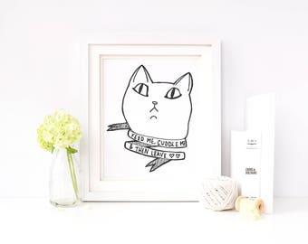 Cat Wall Art    Feminist Print    Funny Print    Grumpy Cat    Cat Illustration    Cat Gift   Cat Lady Gift    Funny Cat Print