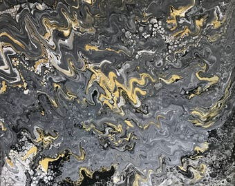 Ryan's World - Original Acrylic pour painting with silicone cells on stretched canvas, black, silver, gold
