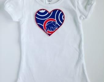 Toddler Girl Chicago Cubs Heart Shirt Short Sleeve