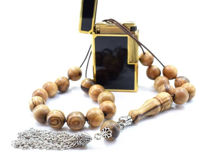 Olive Wood Komboloi, Worry Beads, Greek Komboloi, Metal Tassel, Olive Wood Beads, Stress Relief, Gift for Him, Made in Greece, Father's Gift