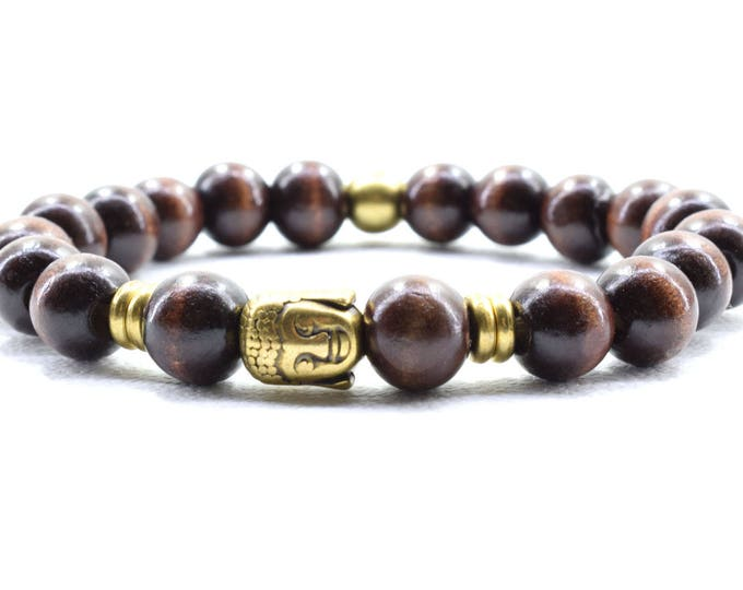 Unisex Bracelet with Dark Brown Wood beads and Bronze tone metal Buddha Head bead.