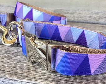 "Spring Mountain 1"" Dog Collar, Green Geometric Dog Collar, Pink Geometric Dog Collar, Orange Dog Collar"