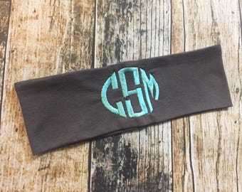 Personalized Headband - Monogrammed Embroidered 2 inch Stretch Knit Headband - Black, Silver, Charcoal & White