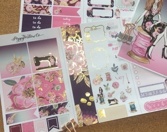 Sew Pretty Gold Foiled Travellers Note Book Sticker Set | Pocket Sized