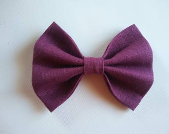 DEEP PURPLE linen DOGbowtie for doggy summer outfit owner matched