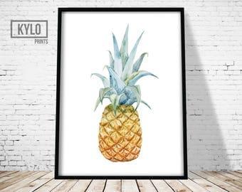 Pineapple Print, Printable Art, Tropical Art, Summer Print, Fruit Art, Tropical Print, Pineapple art, Watercolor Pineapple, Modern art Print