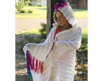 Hooded Unicorn Blanket, Rainbow Unicorn Gift, Pegasus Blanket, Baby Blanket With Hood, Crochet Toddler Blanket, Unicorn Birthday, Girls Gift