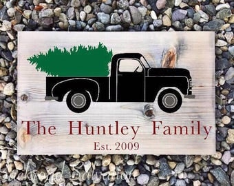 Custom Vintage Truck Sign - Merry Christmas Sign - Christmas Tree Decor - Old Pickup Sign - Hand Painted Wood Sign - Rustic - Christmas