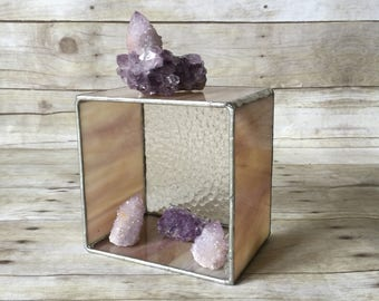 Stained Glass Agate Candle Holder - Pink Glass Box Planter or Display Cube