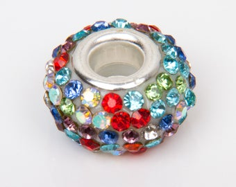 2 beads style with multi colored rhinestones - 28011 European o15