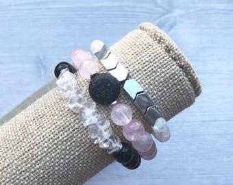 Pink stack of 3 diffuser bracelets