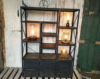 Industrial furniture bookcase in wood and steel