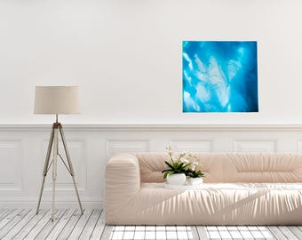 "24x24 wooden panel abstract acrylic resin painting with ocean hues, a nautical feel & a glossy resin finish--""Fresh"""
