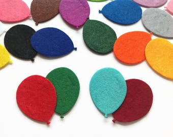 Felt Balloon Die Cuts, Colourful Party Balloons for Sewing and Craft Projects, Pack of 10