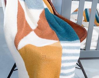 Haakpatroon tunische gehaakte babydeken geometrisch