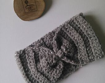 Pearl Grey wool Band with silver leaf Perfect for a casual look but style cozy grey turban woman