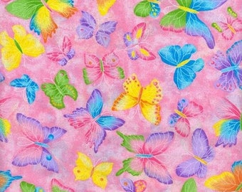 Glitter Fabric by the Yard, Pink Butterfly Fabric, Baby Girl Fabric Purple Fabric, Quilting Fabric, Apparel Fabric, Fabric Half Yard