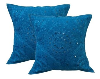 Handmade Embroidered and Mirror Work Indian Cotton Throw Pillow Cushion Covers 16 X 16 Inches Set of 2 Pcs