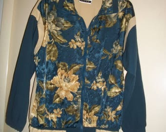 Womens Vintage 90s Blue, Gold Fitness Jacket, Active Wear Jacket Size M/L