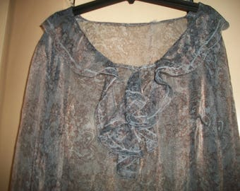 Vintage Gray Floral Sheer Ruffled Blouse Size 1X