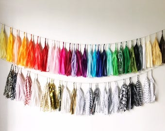 DIY Tissue Paper Tassel Garland or Tassel Balloon String/Pom Tassels/Party Garland/Party Tassels/Party Decor/Balloon Tassels/DYI Tasssels