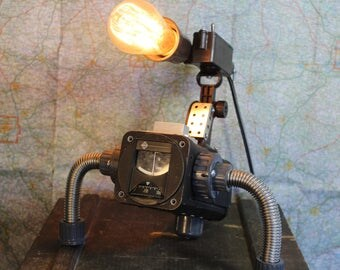 The Alien Tripod. a steampunk inspired industrial lamp