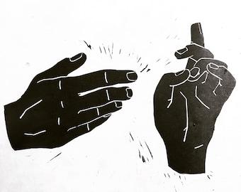 Iconography Hands Linocut Print